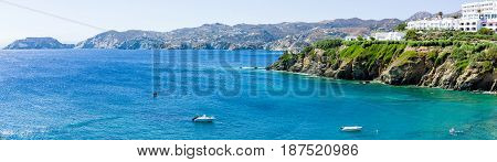 AGIA PELAGIA GREECE - JULY 10 2016: Greece. The island of Crete. Agia Pelagia. A popular tourist destination. Panoramic view.