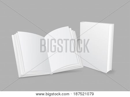 Standing closed and open white paper books with shadow on gray background. Empty cover template. Education literature symbol. Author writer show product
