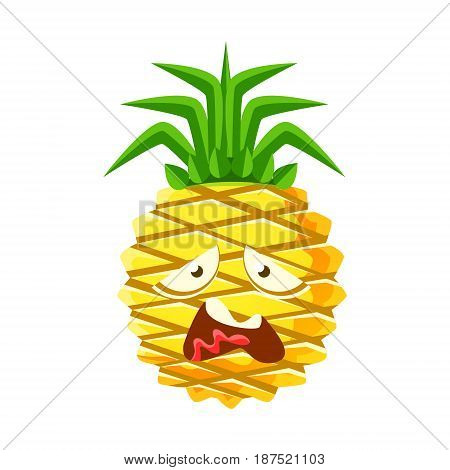 Vexed pineapple face. Cute cartoon emoji character vector Illustration isolated on a white background