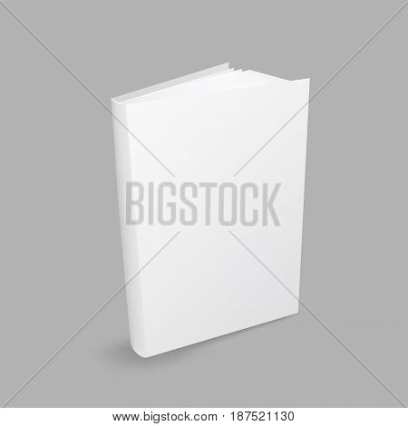 Standing closed white book with shadow on gray background. Empty cover template. Education literature symbol. Author writer show product