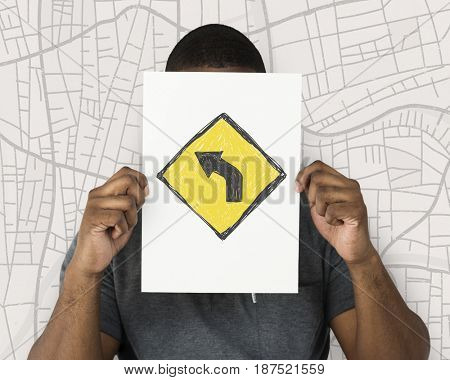Man holding network graphic overlay banner