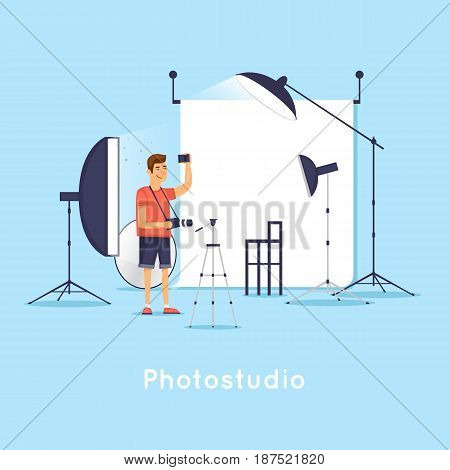 Photostudio. Character. Interior. Flat design vector illustration.