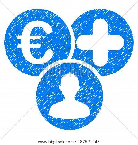 Grunge Euro Medical Expences icon with grunge design and dust texture. Unclean vector blue pictogram for rubber seal stamp imitations and watermarks. Draft emblem symbol.