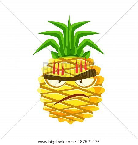 Furious pineapple face. Cute cartoon emoji character vector Illustration isolated on a white background