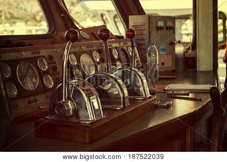 CRETE GREECE - JULY 11 2016: Captain's cabin of pleasure ship. Stylization. Toning.