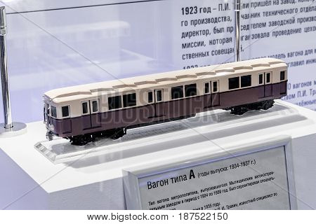 Mytischi Moscow region Russia May 16 2017: Retro subway train carriage of A type model inside of the Metrovagonmash museum.