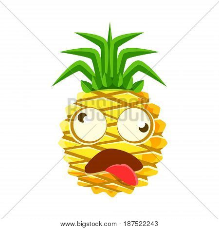 Dizzy pineapple emoticon. Cute cartoon emoji character vector Illustration isolated on a white background