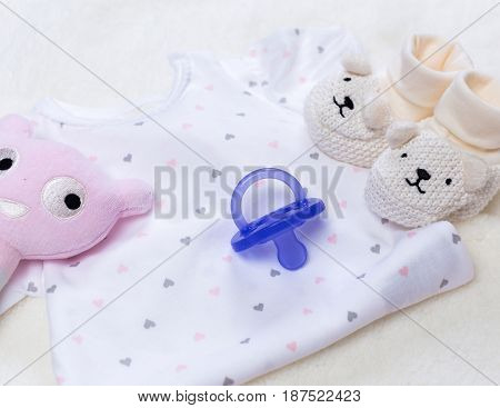 set of fashion trendy clothes and kids stuff for little baby girl