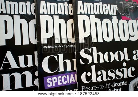 Bracknell, England - May 22, 2017: Copies of Amateur Photographer magazine, a weekly publication with articles on photography genres, techniques, camera and technology reviews