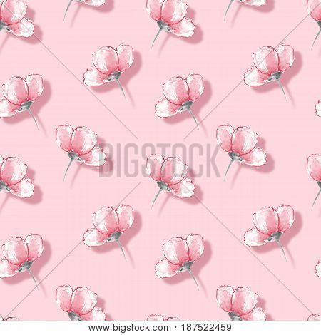 Floral seamless pattern. Watercolor background with pink flowers 25