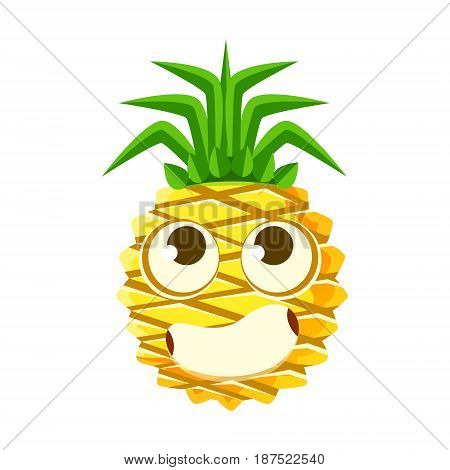 Bewildered pineapple face with big eyes. Cute cartoon emoji character vector Illustration isolated on a white background