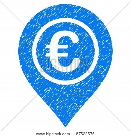 Grunge Euro Pointer icon with grunge design and scratched texture. Unclean vector blue pictogram for rubber seal stamp imitations and watermarks. Draft sticker symbol.