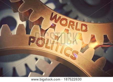 World Politics on the Mechanism of Golden Cog Gears with Glow Effect. World Politics on the Mechanism of Golden Gears with Lens Flare. 3D Rendering.