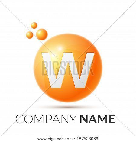 W Letter splash logo. Orange dots and circle bubble letter design on grey background. Vector Illustration