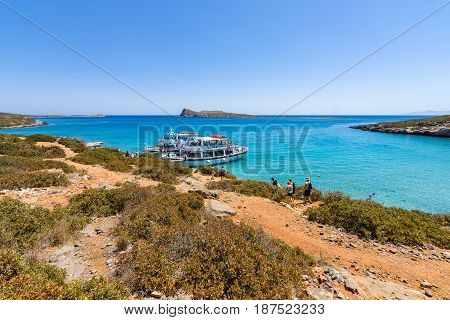 CRETE GREECE - JULY 11 2016: Beautiful bay. Kolokitha beach. Peninsula Kalydon. The island of Crete. A popular tourist destination.