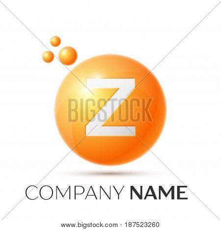 Z Letter splash logo. Orange dots and circle bubble letter design on grey background. Vector Illustration