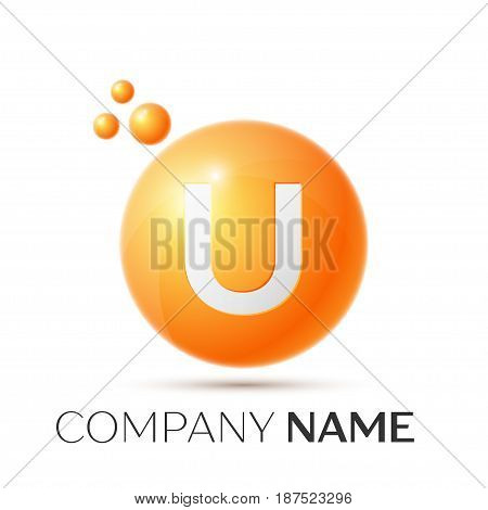 U Letter splash logo. Orange dots and circle bubble letter design on grey background. Vector Illustration