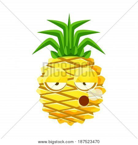 Smoking pineapple emoticon. Cute cartoon emoji character vector Illustration isolated on a white background