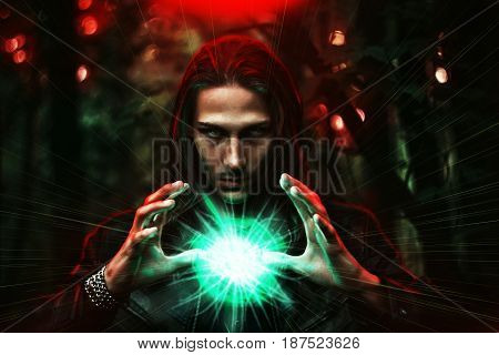 Long haired white male with a mystical glowing orb to signify power magic spirituality and so forth