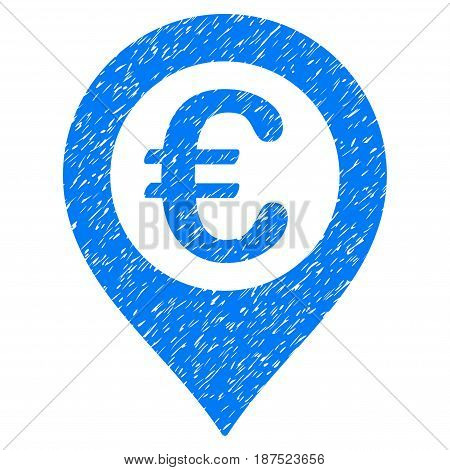 Grunge Euro Pushpin icon with grunge design and scratched texture. Unclean vector blue pictogram for rubber seal stamp imitations and watermarks. Draft emblem symbol.