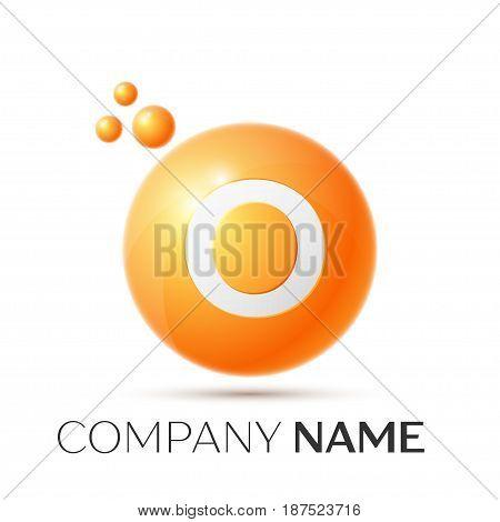 O Letter splash logo. Orange dots and circle bubble letter design on grey background. Vector Illustration