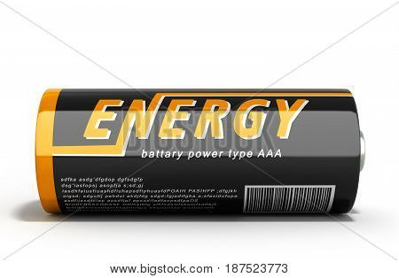 3D Illustration Battery Image With Clipping Path On White