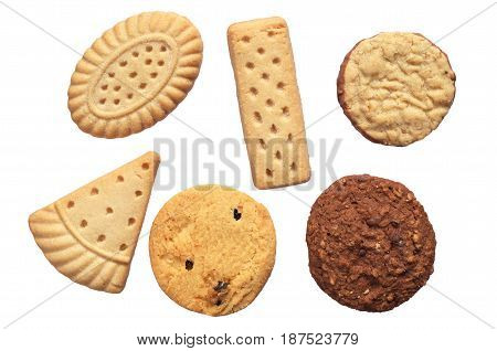 Set of different shortbread cookies isolated on white background top view