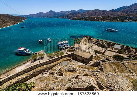 CRETE GREECE - JULY 11 2016: View of the Gulf of Elounda from a fortress on Spinalonga island.