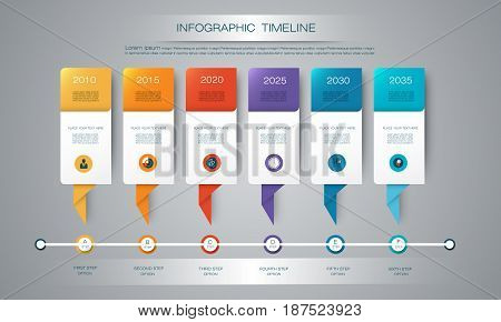 Vector infographics timeline design template with 3D paper label and graph 6 steps options. For workflow, layout, diagram, infograph, business, infographic, flowchart, process diagram,, time line, chart