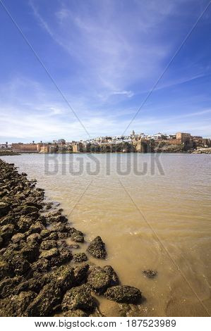 View of Kasbah of the Oudayas and ancient Medina in Rabat from the harbor in Sale Morocco.