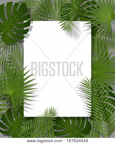 White paper on green summer tropical background with exotic palm leaves and plant. Vector floral design.