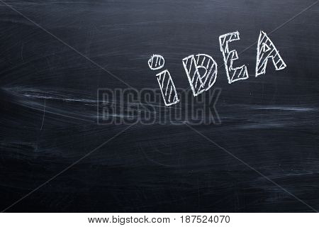 idea drawn with chalk on a blackboard