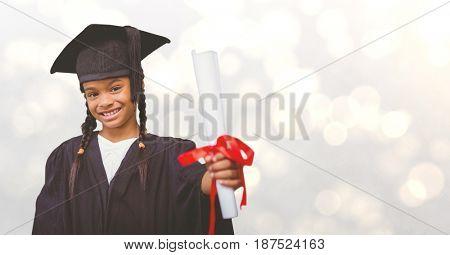 Digital composite of Graduate girl showing certificate over bokeh