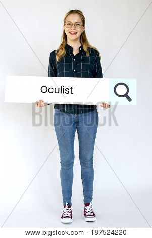 Woman holding billboard network graphic overlay