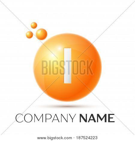I Letter splash logo. Orange dots and circle bubble letter design on grey background. Vector Illustration