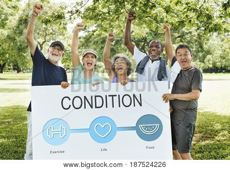 Senior people holding network graphic overlay banner