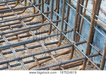 Soft focused picture of deformed bar Re-bar steel for constructure building tie with wire