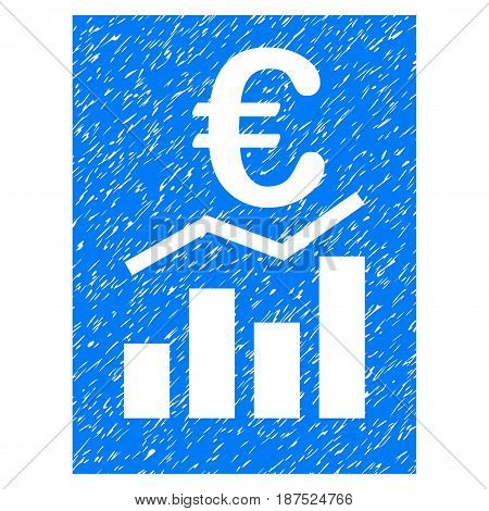 Grunge Euro Sale Report icon with grunge design and dust texture. Unclean vector blue pictogram for rubber seal stamp imitations and watermarks. Draft sticker symbol.