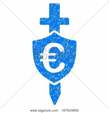 Grunge Euro Shield icon with grunge design and dust texture. Unclean vector blue pictogram for rubber seal stamp imitations and watermarks. Draft sticker symbol.