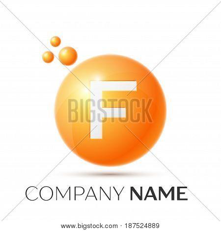F Letter splash logo. Orange dots and circle bubble letter design on grey background. Vector Illustration