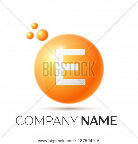 E Letter splash logo. Orange dots and circle bubble letter design on grey background. Vector Illustration