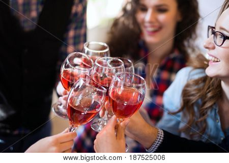 Wine tasting event and degustatioon by happy people