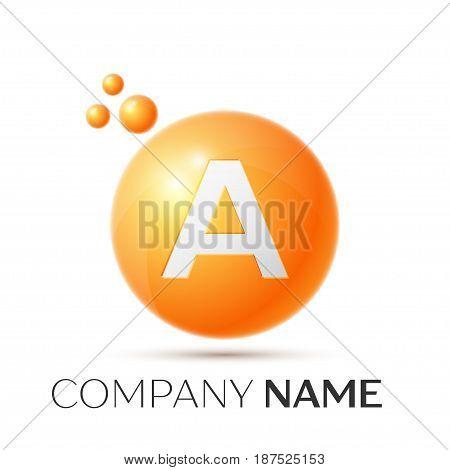 A Letter splash logo. Orange dots and circle bubble letter design on grey background. Vector Illustration