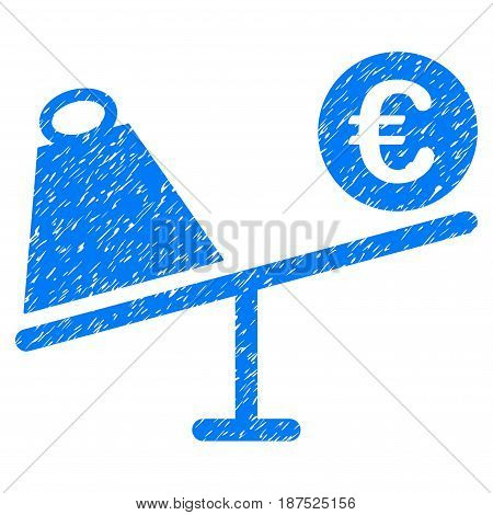 Grunge Euro Trade Swing icon with grunge design and unclean texture. Unclean vector blue pictogram for rubber seal stamp imitations and watermarks. Draft sticker symbol.