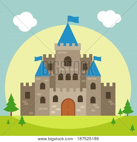 Castle illustration with blue sky and green grass