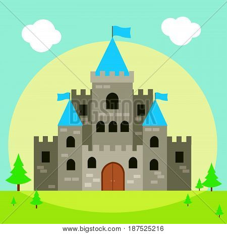 Castle vector illustration with blue sky and green grass