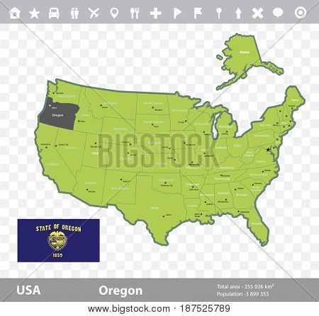 USA Oregon state map and flag vector image