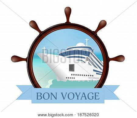 Helm and porthole with the ship ribbon. Concept advertising sea travel. Vector illustration.