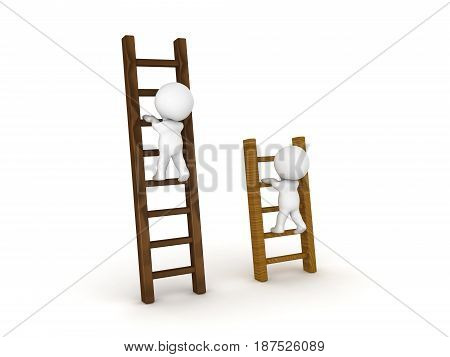Two 3D Characters climbing on different types of ladders. Image can be used in comparison scenario.