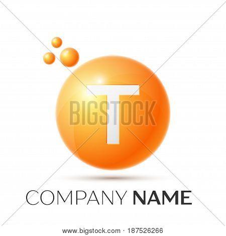 T Letter splash logo. Orange dots and circle bubble letter design on grey background. Vector Illustration